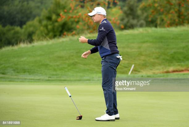 James Morrison of England on the 10th green during the third round of the DD REAL Czech Masters at Albatross Golf Resort on September 2 2017 in...