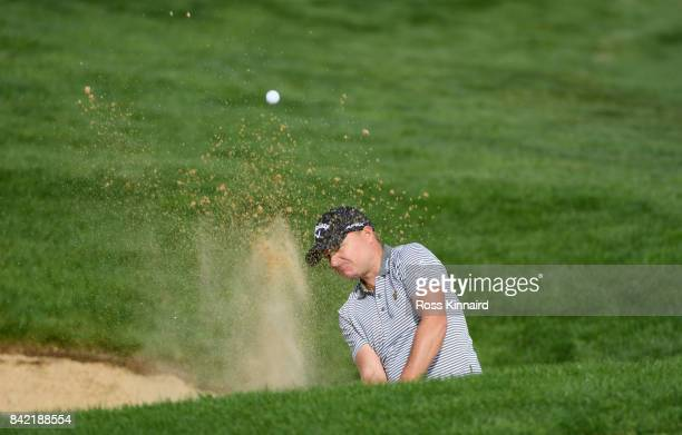 James Morrison of England plays from a bunker on the 17th hole during the final round on day four of the DD REAL Czech Masters at Albatross Golf...