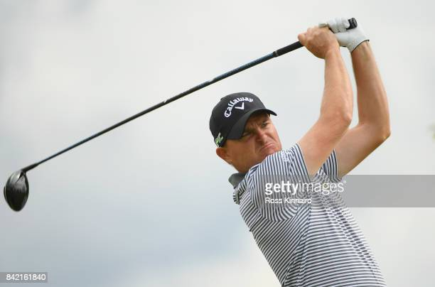 James Morrison of England tees off on the 11th hole during the final round on day four of the DD REAL Czech Masters at Albatross Golf Resort on...