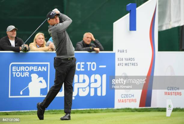 James Morrison of England tees off on the 1st hole during the final round on day four of the DD REAL Czech Masters at Albatross Golf Resort on...