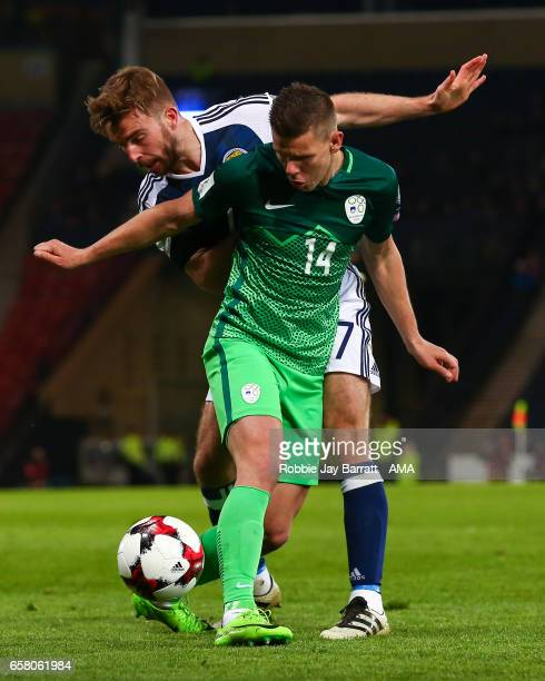 James Morrison of Scotland and Roman Bezjak of Slovenia during the FIFA 2018 World Cup Qualifier between Scotland and Slovenia at Hampden Park on...