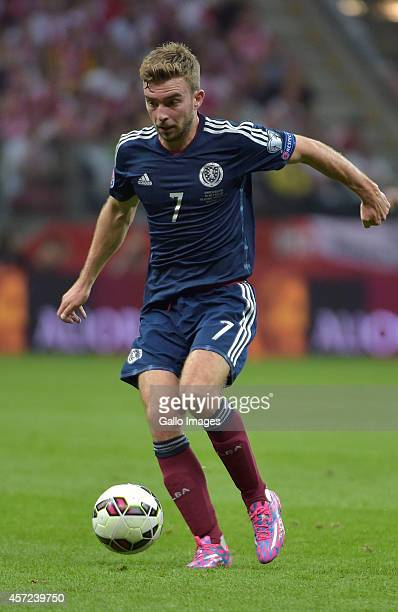 James Morrison of Scotland during the UEFA Euro 2016 Qualifying Round match between Poland and Scotland at the National Stadium on October 14 2014 in...
