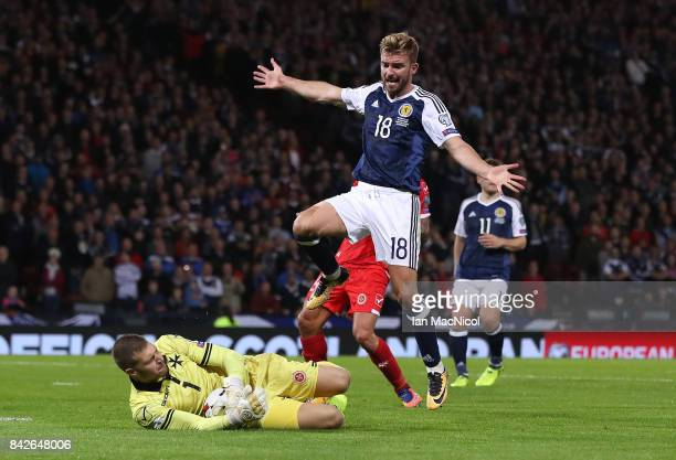 GLASGOW SCOTLAND SEPTEMBER 04 James Morrison of Scotland vies with Andrew Hogg of Malta during the FIFA 2018 World Cup Qualifier between Scotland and...