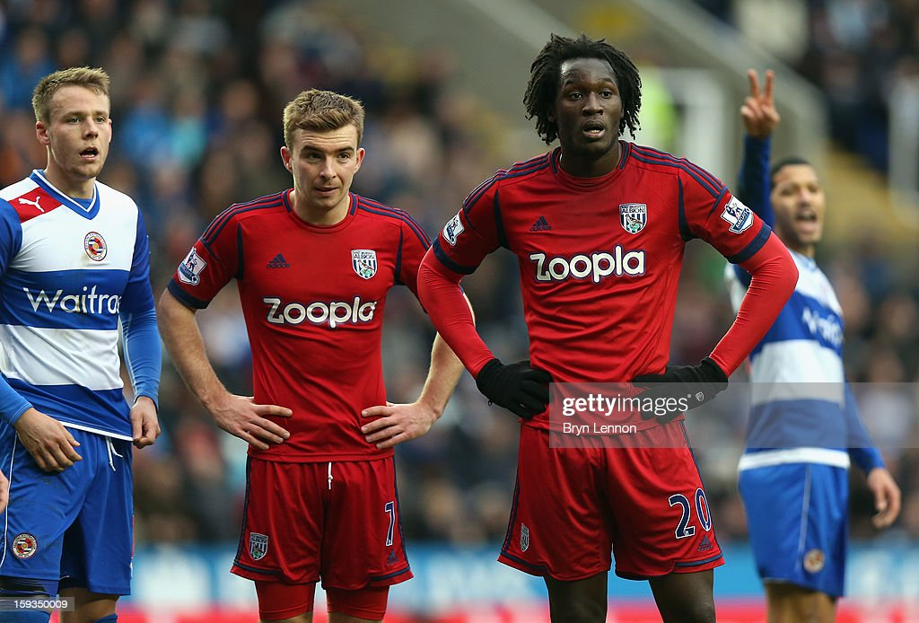 James Morrison (l) of West Bromwich Albion and team mate Romelu Lukaka (r) look on during the Barclays Premier League match between Reading and West Bromwich Albion at the Madejski Stadium on January 12, 2013 in Reading, England.