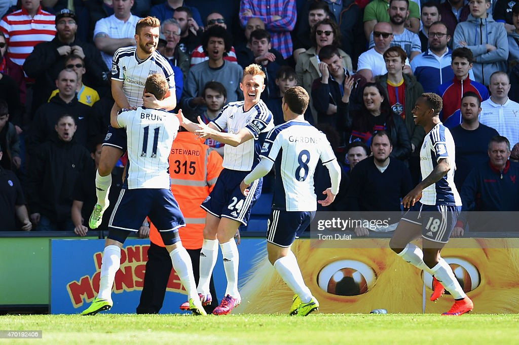 James Morrison of West Bromwich Albion celebrates with team mates as he scores their goal during the Barclays Premier League match between Crystal...