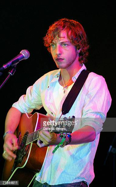 James Morrison performs at the Smyle and Kidd offical players party during the Cartier Polo Day at the Smyle Marquee in Great Windsor Park on July 30...
