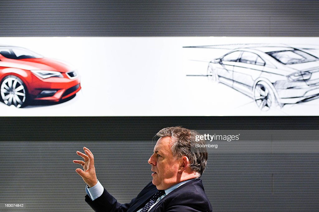 James Muir, head of Seat SA, gestures whilst speaking during a Bloomberg interview at the Seat SA headquarters in Martorell, Spain, on Thursday Feb. 28, 2013. Seat will invest 300 million euros a year in the next five years and renew its range of models, Efe said, citing an interview with Muir. Photographer: David Ramos/Bloomberg via Getty Images