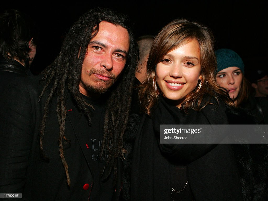 James 'Munky' Shaffer of Korn and <a gi-track='captionPersonalityLinkClicked' href=/galleries/search?phrase=Jessica+Alba&family=editorial&specificpeople=201811 ng-click='$event.stopPropagation()'>Jessica Alba</a> during Korn 'See You on the Other Side' Tour Launch Party at Hollywood Forever Cemetery on Friday the 13th at Hollywood Forever Cemetery in Los Angeles, California, United States.