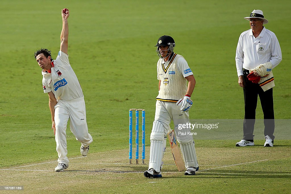 James Munting of the Redbacks bowls during day one of the Sheffield Shield match between the Western Australia Warriors and the South Australia Redbacks at the WACA on November 6, 2013 in Perth, Australia.