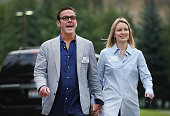 James Murdoch chief executive officer of 21st Century Fox and his wife Kathryn attend the Allen Company Sun Valley Conference on July 8 2015 in Sun...