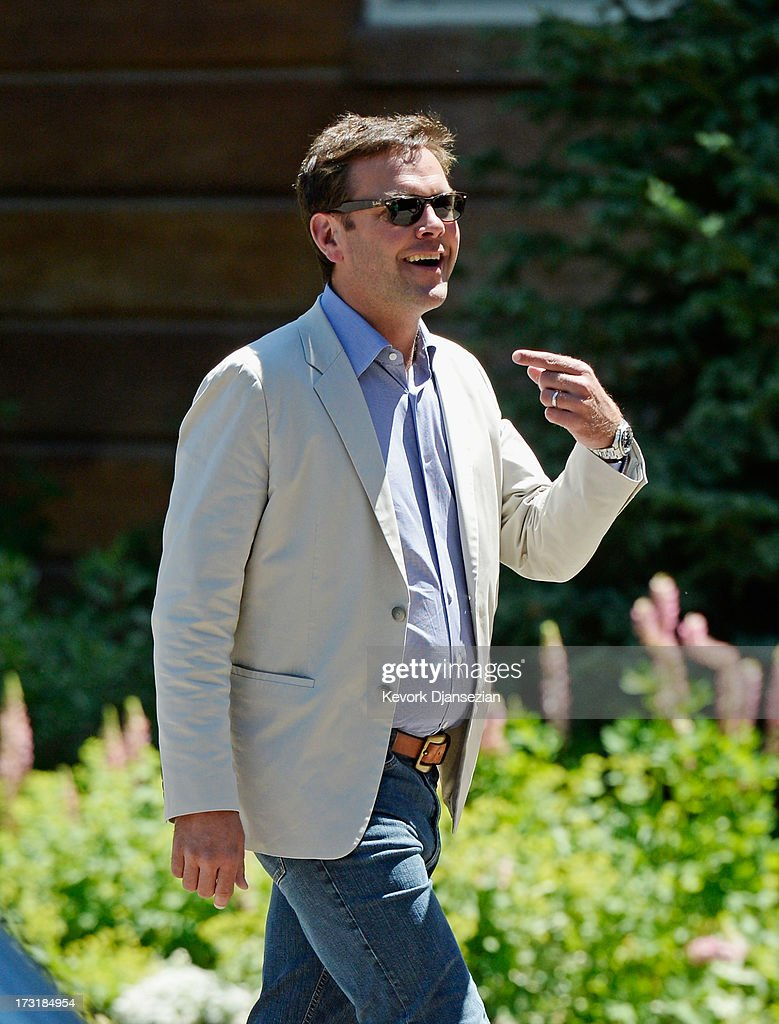 James Murdoch, son of media mogul Rupert Murdoch and the deputy chief operating officer of News Corporation arrives for the Allen & Co. annual conference at the Sun Valley Resort on July 9, 2013 in Sun Valley, Idaho. The resort will host corporate leaders for the 31st annual Allen & Co. media and technology conference where some of the wealthiest and most powerful executives in media, finance, politics and tech gather for weeklong meetings. Past attendees included Warren Buffett, Bill Gates and Mark Zuckerberg.