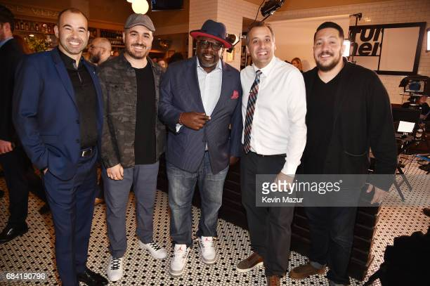 James Murray Brian Quinn Cedric the Entertainer Joe Gatto and Sal Vulcano attend the Turner Upfront 2017 green room at Lugo Cucina Italiana on May 17...