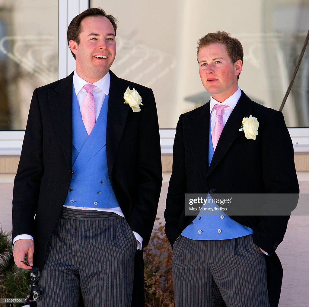 James Murray Wells and Guy Pelly attend the wedding of Laura Bechtolsheimer and Mark Tomlinson at the Protestant Church on March 2, 2013 in Arosa, Switzerland.