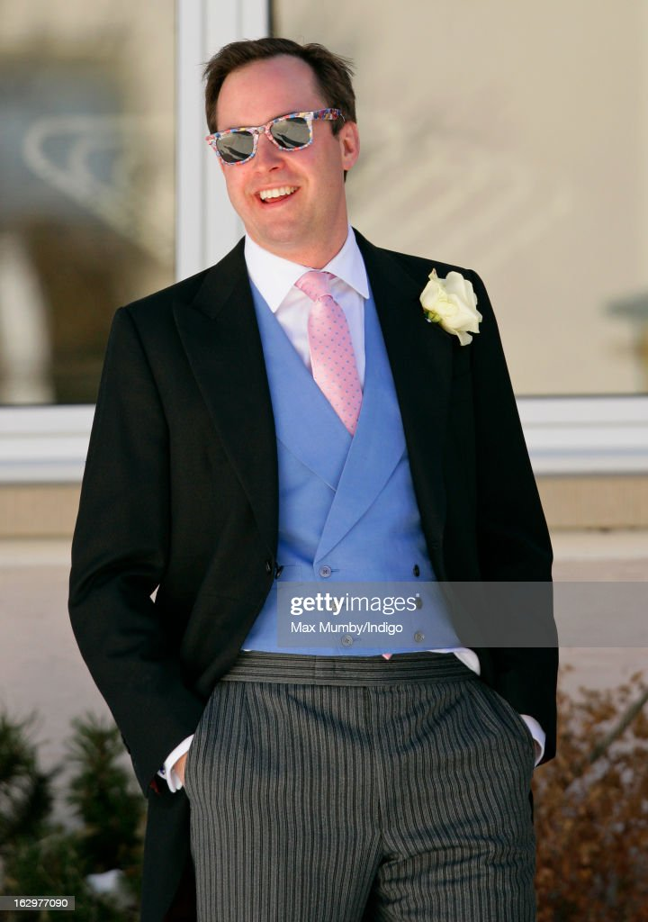 James Murray Wells attends the wedding of Laura Bechtolsheimer and Mark Tomlinson at the Protestant Church on March 2, 2013 in Arosa, Switzerland.