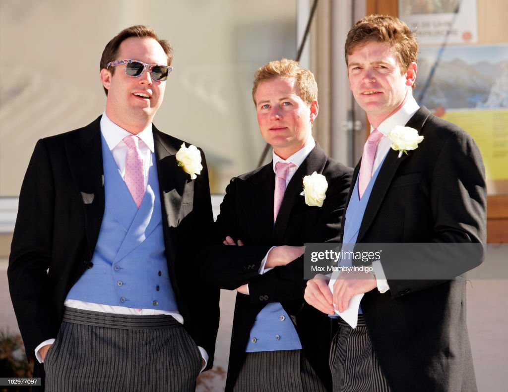 James Murray Wells, Guy Pelly and James Meade attend the wedding of Laura Bechtolsheimer and Mark Tomlinson at the Protestant Church on March 2, 2013 in Arosa, Switzerland.