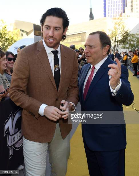 James Neal of the Vegas Golden Knights and NHL Commissioner Gary Bettman arrive at the Golden Knights' inaugural regularseason home opener against...