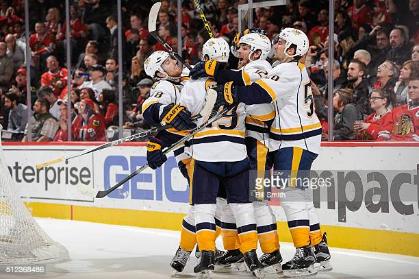 James Neal Calle Jarnkrok Mike Fisher and Roman Josi of the Nashville Predators celebrate after Jarnkrok scored in the third period of the NHL game...