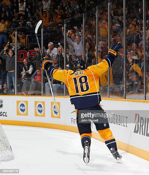 James Neal of the Nashville Predators celebrates his goal against the Tampa Bay Lightning during an NHL game at Bridgestone Arena on October 20 2015...