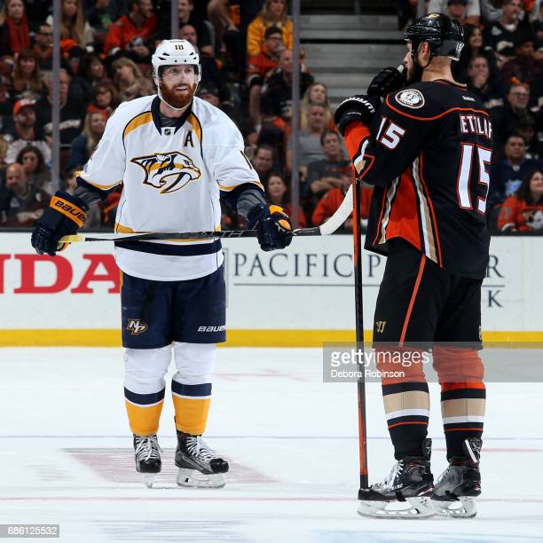 James Neal of the Nashville Predators chats with Ryan Getzlaf of the Anaheim Ducks in Game Five of the Western Conference Final during the 2017 NHL...