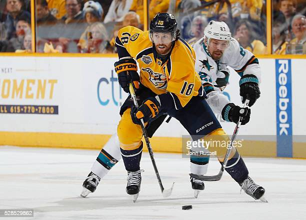 James Neal of the Nashville Predators skates against Joonas Donskoi of the San Jose Sharksin Game Four of the Western Conference Second Round during...