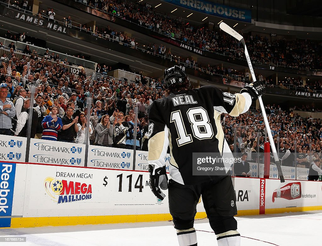 <a gi-track='captionPersonalityLinkClicked' href=/galleries/search?phrase=James+Neal&family=editorial&specificpeople=1487991 ng-click='$event.stopPropagation()'>James Neal</a> #18 of the Pittsburgh Penguins acknowledges the crowd after being names the first star of the game against the Carolina Hurricanes on April 27, 2013 at Consol Energy Center in Pittsburgh, Pennsylvania. Pittsburgh won the game 8-3.