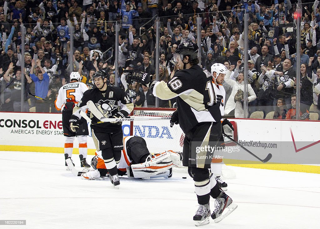 James Neal #18 of the Pittsburgh Penguins celebrates his third period power play goal against the Philadelphia Flyers during the game at Consol Energy Center on February 20, 2013 in Pittsburgh, Pennsylvania. The Flyers defeated the Penguins 6-5.
