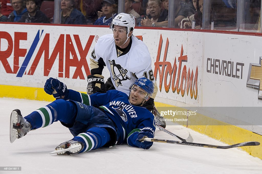 <a gi-track='captionPersonalityLinkClicked' href=/galleries/search?phrase=James+Neal&family=editorial&specificpeople=1487991 ng-click='$event.stopPropagation()'>James Neal</a> #18 of the Pittsburgh Penguins checks Chris Tanev #8 of the Vancouver Canucks to the ice on January 7, 2014 at Rogers Arena in Vancouver, British Columbia, Canada.