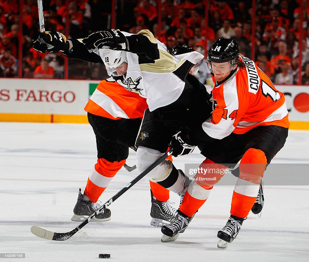 James Neal #18 of the Pittsburgh Penguins is knocked onto the ice by Sean Couturier #14 of the Philadelphia Flyers as Neal tried to split the defense in the third period of Game Six of the Eastern Conference Quarterfinals during the 2012 NHL Stanley Cup Playoffs at Wells Fargo Center on April 22, 2012 in Philadelphia, Pennsylvania. Flyers won the game 5-1 to eliminate the Penguins from the playoffs.