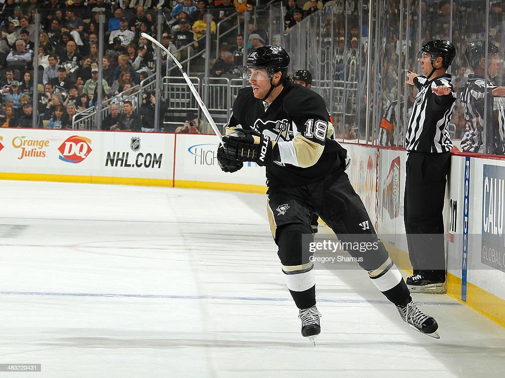<a gi-track='captionPersonalityLinkClicked' href=/galleries/search?phrase=James+Neal&family=editorial&specificpeople=1487991 ng-click='$event.stopPropagation()'>James Neal</a> #18 of the Pittsburgh Penguins skates against the Carolina Hurricanes on April 1, 2014 at Consol Energy Center in Pittsburgh, Pennsylvania.