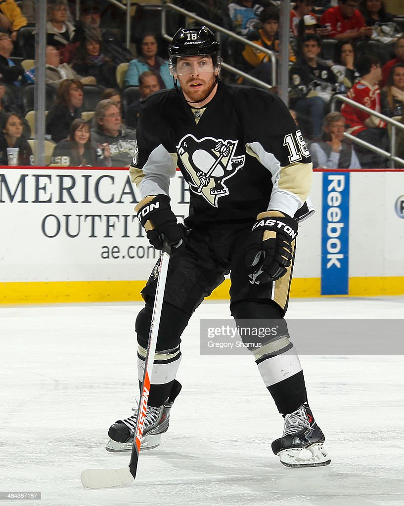 <a gi-track='captionPersonalityLinkClicked' href=/galleries/search?phrase=James+Neal&family=editorial&specificpeople=1487991 ng-click='$event.stopPropagation()'>James Neal</a> #18 of the Pittsburgh Penguins skates against the Detroit Red Wings on April 9, 2014 at Consol Energy Center in Pittsburgh, Pennsylvania.