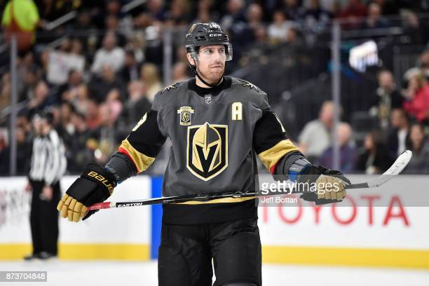 James Neal of the Vegas Golden Knights awaits a faceoff against the Winnipeg Jets during the game at TMobile Arena on November 10 2017 in Las Vegas...