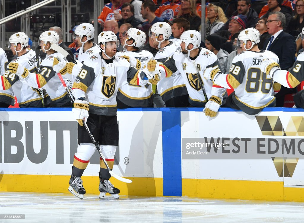 James Neal #18 of the Vegas Golden Knights celebrates after a goal during the game against the Edmonton Oilers on November 14, 2017 at Rogers Place in Edmonton, Alberta, Canada.