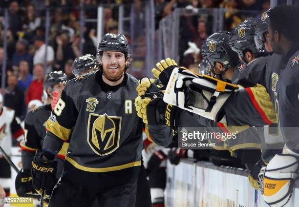 James Neal of the Vegas Golden Knights celebrates his goal at 615 of the first period against the Arizona Coyotes during the Golden Knights'...