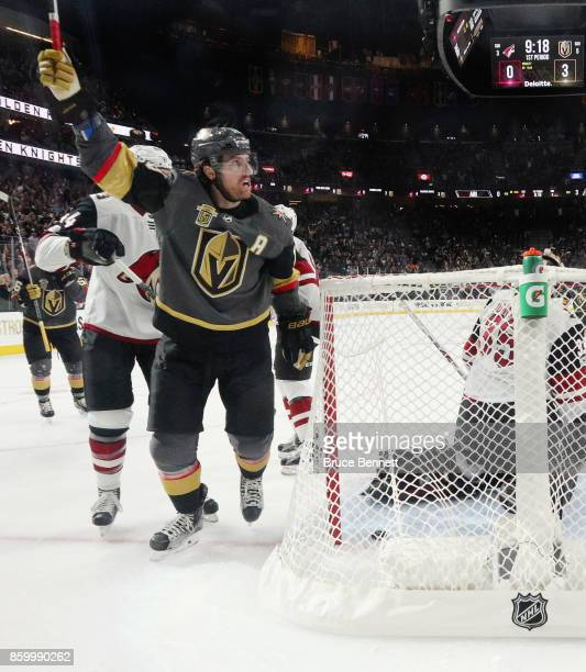 James Neal of the Vegas Golden Knights celebrates his powerplay goal at 1042 of the first period against the Arizona Coyotes during the Golden...