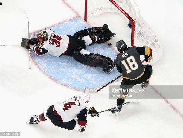 James Neal of the Vegas Golden Knights scores a powerplay goal at 1042 of the first period against Antti Raanta of the Arizona Coyotes during the...