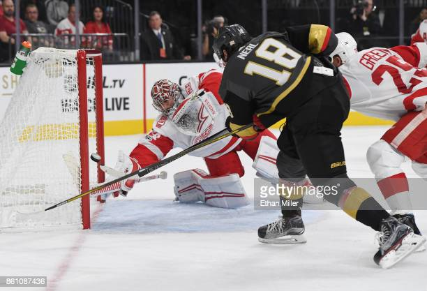 James Neal of the Vegas Golden Knights scores a secondperiod goal against Petr Mrazek of the Detroit Red Wings during their game at TMobile Arena on...