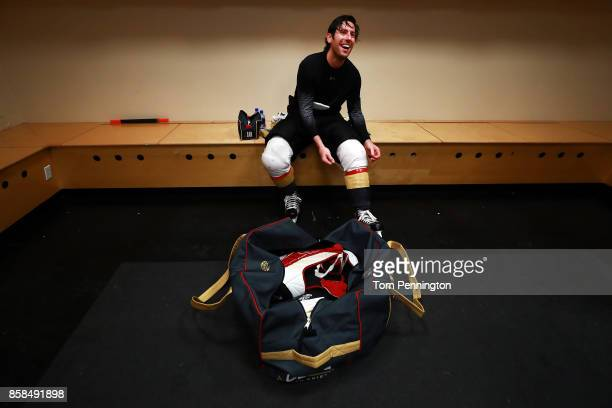 James Neal of the Vegas Golden Knights sits in the locker room after scoring two goals to beat the Dallas Stars 21 at American Airlines Center on...