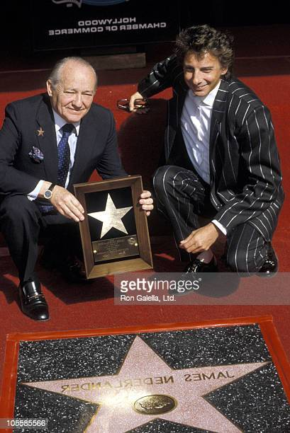 James Nederlander and Barry Manilow during Hollywood Walk of Fame November 7 1986 at Hollywood Walk of Fame in Hollywood California United States