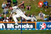 James Neesham of New Zealand attempts a runout during day one of the Second Test match between New Zealand and Sri Lanka at Basin Reserve on January...