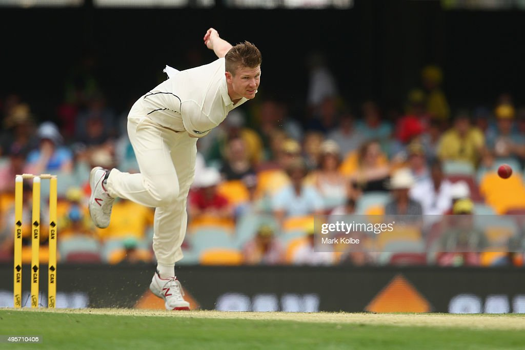 James Neesham of New Zealand bowls during day one of the First Test match between Australia and New Zealand at The Gabba on November 5, 2015 in Brisbane, Australia.