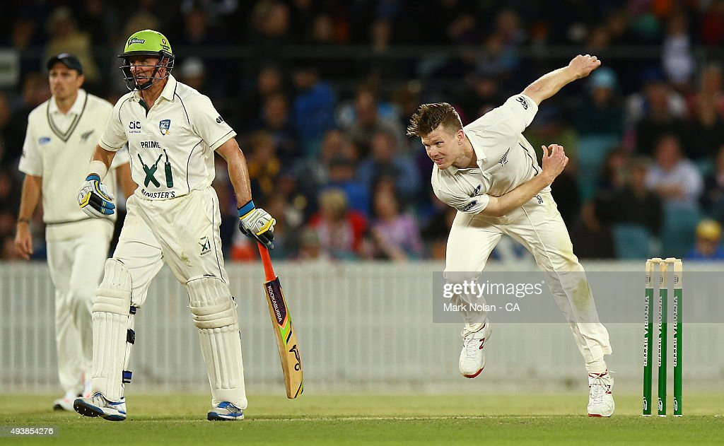 James Neesham of New Zealand bowls during the tour match between the Prime Minister's XI and New Zealand at Manuka Oval on October 23, 2015 in Canberra, Australia.