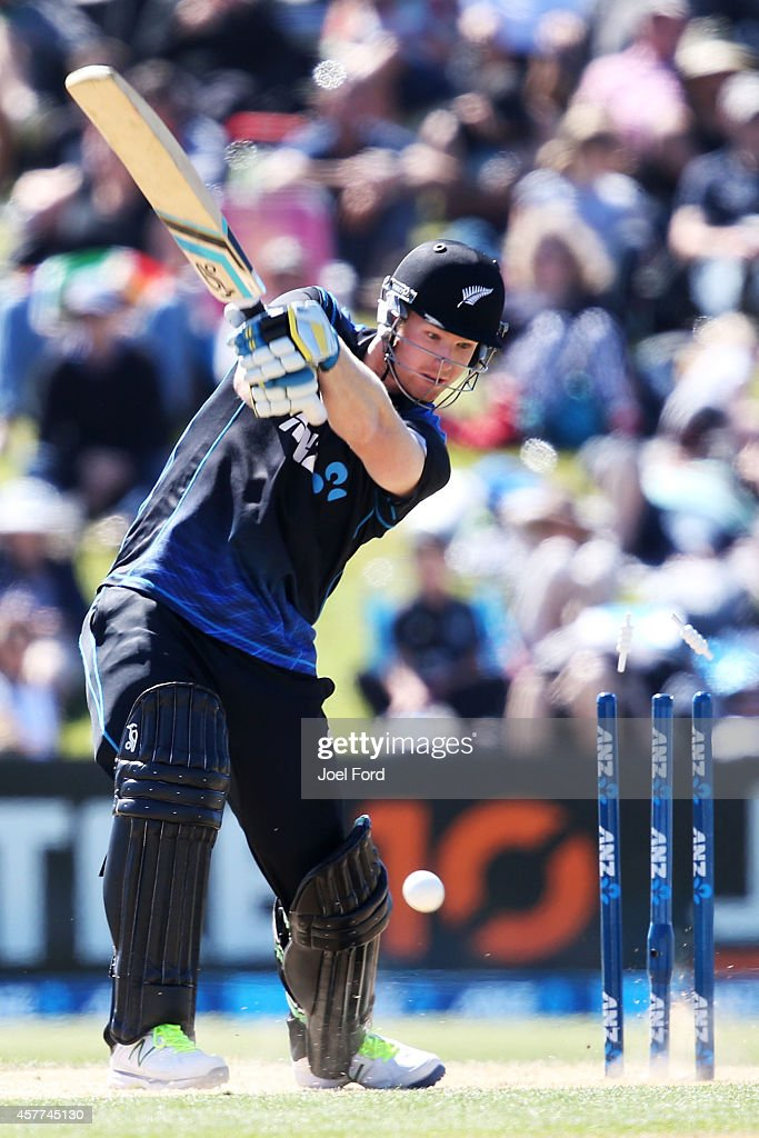 James Neesham of New Zealand is bowled out during the One Day International match between New Zealand and South Africa at Bay Oval on October 24, 2014 in Mount Maunganui, New Zealand.