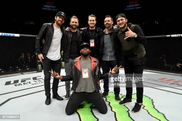James Neil Harry Zolnierczyk Colton Sissons Vern Fidler Anthony Bettedo and PK Subban pose in the Octagon after the UFC Fight Night event at...