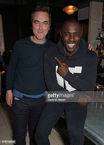 James Nesbitt and Idris Elba attend the official Idris Elba Superdry presentation at LCM at Hix on June 11 2015 in London England