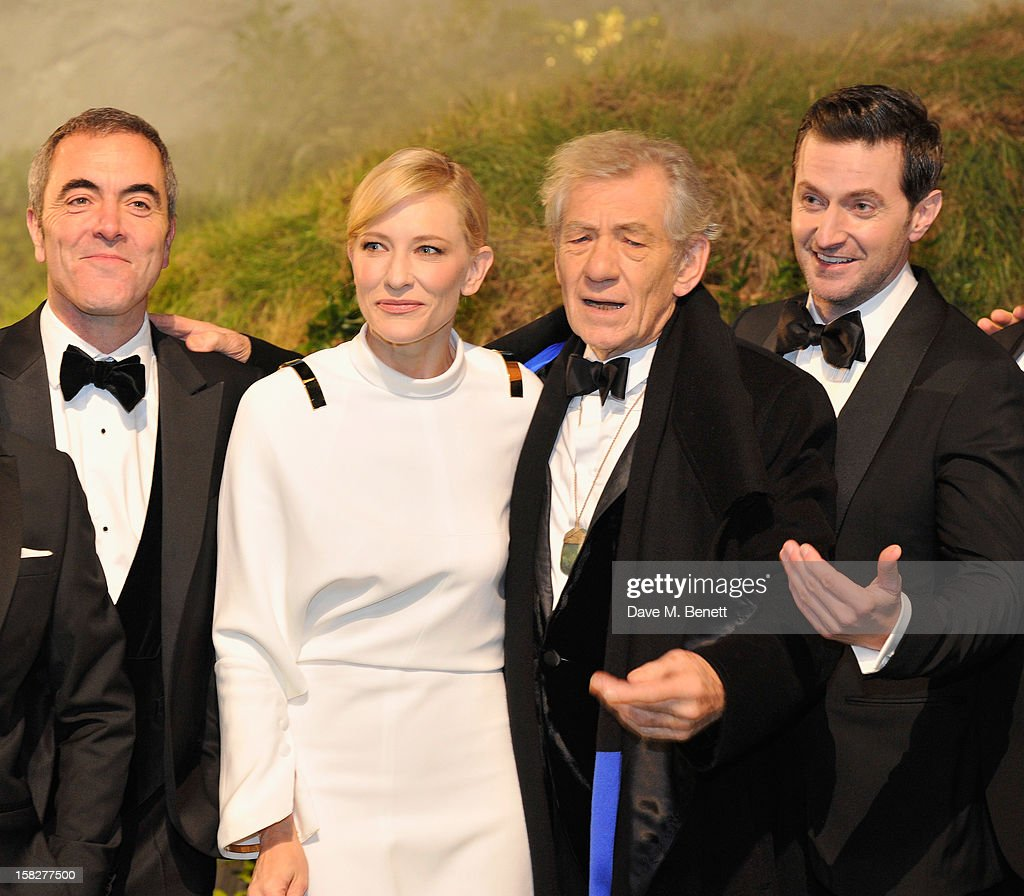 James Nesbitt, Cate Blanchett, Sir Ian Mckellen and Richard Armitage attends the Royal Film Performance of 'The Hobbit: An Unexpected Journey' at Odeon Leicester Square on December 12, 2012 in London, England.