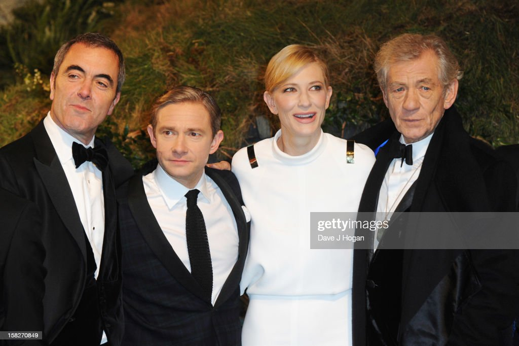 <a gi-track='captionPersonalityLinkClicked' href=/galleries/search?phrase=James+Nesbitt&family=editorial&specificpeople=211175 ng-click='$event.stopPropagation()'>James Nesbitt</a>, <a gi-track='captionPersonalityLinkClicked' href=/galleries/search?phrase=Martin+Freeman&family=editorial&specificpeople=214753 ng-click='$event.stopPropagation()'>Martin Freeman</a>, <a gi-track='captionPersonalityLinkClicked' href=/galleries/search?phrase=Cate+Blanchett&family=editorial&specificpeople=201621 ng-click='$event.stopPropagation()'>Cate Blanchett</a> and Sir Ian Mckellen attend a royal film performance of 'The Hobbit: An Unexpected Journey' at The Empire Leicester Square on December 12, 2012 in London, England.