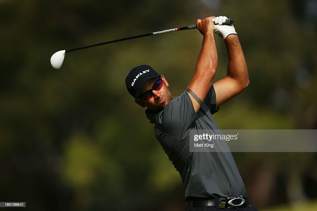 <a gi-track='captionPersonalityLinkClicked' href=/galleries/search?phrase=James+Nitties&family=editorial&specificpeople=220320 ng-click='$event.stopPropagation()'>James Nitties</a> of Australia plays a fairway shot on the 7th hole during day two of the Perth International at Lake Karrinyup Country Club on October 18, 2013 in Perth, Australia.
