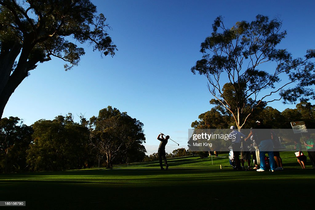 <a gi-track='captionPersonalityLinkClicked' href=/galleries/search?phrase=James+Nitties&family=editorial&specificpeople=220320 ng-click='$event.stopPropagation()'>James Nitties</a> of Australia tees off on the 2nd hole during day two of the Perth International at Lake Karrinyup Country Club on October 18, 2013 in Perth, Australia.