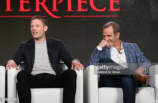 James Norton and Robson Green speak onstage during Masterpiece's 'Grantchester' panel as part of the PBS portion of the 2016 Television Critics...