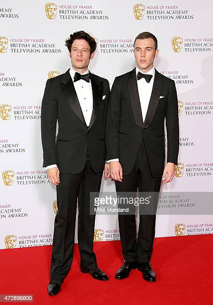 James Norton and Tom Hughes pose in the winners rooms at the House of Fraser British Academy Television Awards at Theatre Royal on May 10 2015 in...